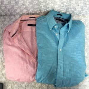 Lot of 2 Tommy Hilfiger Dress Shirt Mens  Size 17